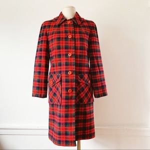 Vintage Pendleton Red + Green Plaid Wool Coat